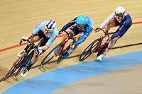 Picture by SWpix.com - 02/03/2018 - Cycling - 2018 UCI Track Cycling World Championships, Day 3 - Omnisport, Apeldoorn, Netherlands - Men's Points race - Kenny de Ketele, King Lok Cheung of Hong Kong and Mark Stewart of Great Britain