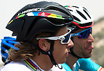 Newly crowned World Champion Peter Sagan (SVK) Tinkoff-Saxo chats with Vincenzo Nibali (ITA) Astana during Stage 1, The ADNOC Stage, of the 2015 Abu Dhabi Tour, running 174 km from Qasr Al Sarab to Madinat Zayed, Abu Dhabi. 8th October 2015.<br /> Picture: ANSA/Claudio Peri | Newsfile