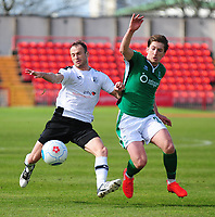 Gateshead's Wes York vies for possession with Lincoln City's Alex Woodyard<br /> <br /> Photographer Andrew Vaughan/CameraSport<br /> <br /> Vanarama National League - Gateshead v Lincoln City - Monday 17th April 2017 - Gateshead International Stadium - Gateshead <br /> <br /> World Copyright &copy; 2017 CameraSport. All rights reserved. 43 Linden Ave. Countesthorpe. Leicester. England. LE8 5PG - Tel: +44 (0) 116 277 4147 - admin@camerasport.com - www.camerasport.com