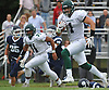 Jeremy Ruckert #1, Lindenhurst tight end, breaks a tackle and races for a 39-yard touchdown reception during the second quarter of a Suffolk County Division I varsity football game against Northport at Glenn High School on Saturday, Sept. 2, 2017. The Ohio State-bound senior added a 14-yard touchdown reception and a sack on defense in Lindenhurst's 31-7 win.