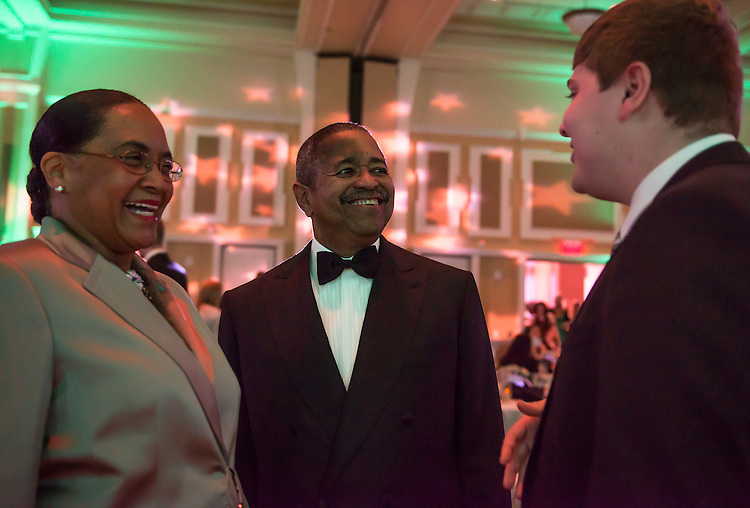 President Roderick McDavis and the First Lady, Deborah McDavis socialize with guests during the 31st Annual Leadership Award Gala.