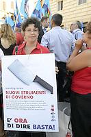 Roma, 27 Luglio 2012.Piazza del Pantheon.Presidio di lavoratori e lavoratrici Cgil e Uil contro la Spending Review.