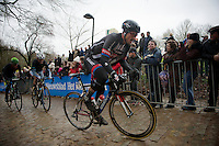 2014 winner John Degenkolb (DEU/Giant-Alpecin) up the Kemmelberg cobbles<br /> <br /> 77th Gent-Wevelgem 2015