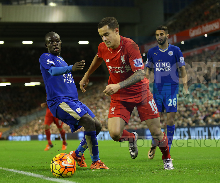 Liverpool's Philippe Coutinho tussles with Leicester's N'Golo Kante<br /> <br /> Barclays Premier League- Liverpool vs Leicester City - Anfield - England - 26th December 2015 - Picture David Klein/Sportimage
