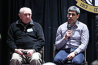 INDIANAPOLIS, IN - January 18, 2013: 2002 and 2006 World Cup captain Claudio Reyna (right) with 1950 World Cup captain Walter Bahr (left). U.S. Soccer hosted a World Cup Coaches and Captains panel at the Indiana Convention Center in Indianapolis, Indiana during the NSCAA Annual Convention.