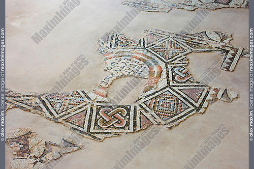 Travel stock photo of Remains of ancient mosaic floor ornament at Kourion Archaeological Site in Cyprus Spring 2007 Horizontal