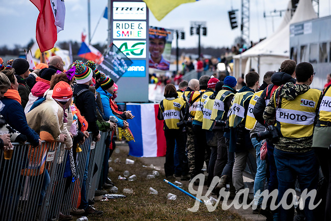 photographers lined up for finish<br /> <br /> Women's Elite Race<br /> UCI 2020 Cyclocross World Championships<br /> Dübendorf / Switzerland<br /> <br /> ©kramon