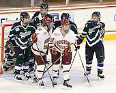 Molly Byrne (Mercyhurst - 5), Caroline Luczak (Mercyhurst - 26), Emily Field (BC - 15), Ashley Motherwell (BC - 18), Kelley Steadman (Mercyhurst - 9), Jess Jones (Mercyhurst - 22) - The Boston College Eagles defeated the visiting Mercyhurst College Lakers 4-2 (EN) on Friday, December 9, 2011, at Kelley Rink/Conte Forum in Chestnut Hill, Massachusetts.