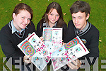 Students who designed the cover of their school magazine.which was launched this week. From l-r: Ceire Ni Dhalaigh,.Michelle Nic Gabhann and Farrell OGadhra.