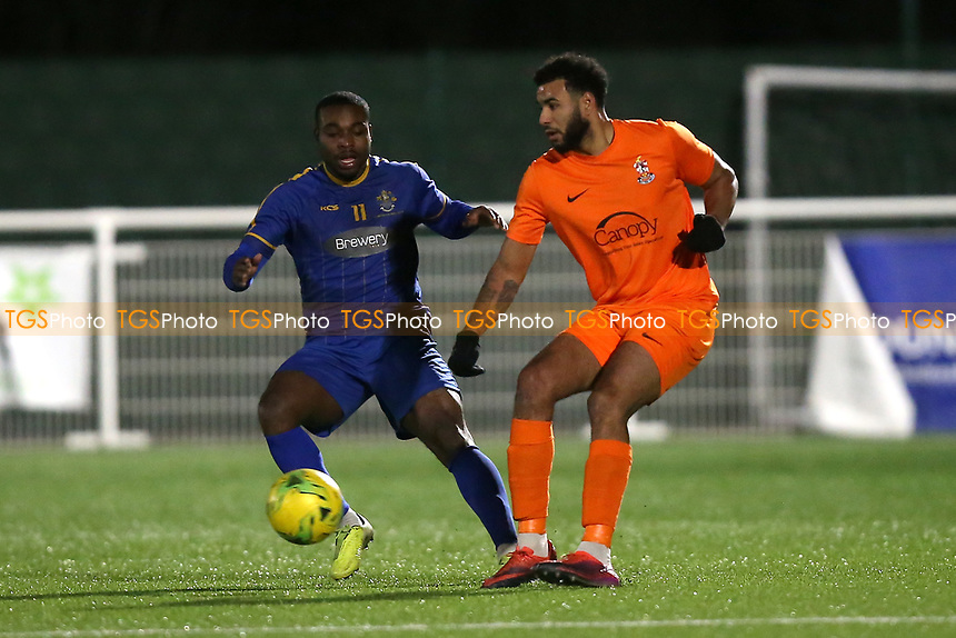 Anthony Furlonge of Brentwood and Mekhi Leacock McLeod during Romford vs Brentwood Town, BetVictor League North Division Football at Parkside on 11th February 2020