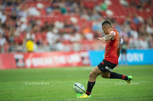 Tusi PISI (NZL), Flyhalf, Super Rugby 2016 Sunwolves vs Bulls (27-30), March 26, 2016 - Rugby : National Stadium / Sports Hub, Singapore. (Photo by Haruhiko Otsuka/AFLO)