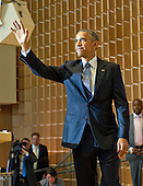 United States President Barack Obama at Adas Israel Congregation in Washington, D.C. on Friday, May 22, 2015 after delivering remarks celebrating Jewish American Heritage Month.  The visit coincides with Solidarity Shabbat, a world-wide effort by high ranking government officials from around the world visit synagogues in their countries to highlight their commitment to combating anti-Semitism.<br /> Credit: Ron Sachs / CNP