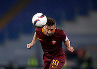 Calcio, Europa League, Gguppo E: Roma vs Austria Vienna. Roma, stadio Olimpico, 20 ottobre 2016.<br /> Roma's Francesco Totti heads the ball during the Europa League Group E soccer match between Roma and Austria Wien, at Rome's Olympic stadium, 20 October 2016. The game ended 3-3.<br /> UPDATE IMAGES PRESS/Isabella Bonotto