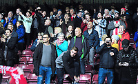 Lincoln City fans applaud their team at the final whistle<br /> <br /> Photographer Andrew Vaughan/CameraSport<br /> <br /> The EFL Checkatrade Trophy Northern Group H - Scunthorpe United v Lincoln City - Tuesday 9th October 2018 - Glanford Park - Scunthorpe<br />  <br /> World Copyright &copy; 2018 CameraSport. All rights reserved. 43 Linden Ave. Countesthorpe. Leicester. England. LE8 5PG - Tel: +44 (0) 116 277 4147 - admin@camerasport.com - www.camerasport.com