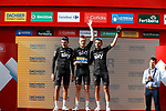 Team Sky on the podium at the end of Stage 14 of the 2017 La Vuelta, running 175km from &Eacute;cija to Sierra de La Pandera, Spain. 2nd September 2017.<br /> Picture: Unipublic/&copy;photogomezsport | Cyclefile<br /> <br /> <br /> All photos usage must carry mandatory copyright credit (&copy; Cyclefile | Unipublic/&copy;photogomezsport)