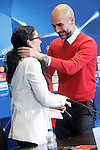 FC Bayern Munchen's coach Pep Guardiola greets translator after the press conference  after Champions League 2015/2016 Semi-Finals 1st leg match. April 26,2016. (ALTERPHOTOS/Acero)