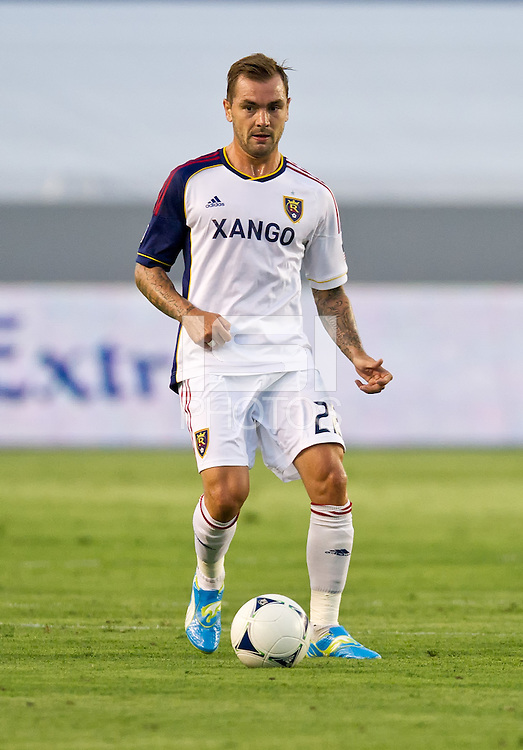 CARSON, CA - June 16, 2012: Real Salt Lake midfielder Jonny Steele (22) during the Chivas USA vs Real Salt Lake match at the Home Depot Center in Carson, California. Final score Real Salt Lake 3, Chivas USA 0.