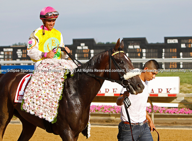 July 14, 2012 Grace Hall, trained by Anthony Dutrow and ridden by Javier Castellano, wins the Delaware Oaks at Delaware Park in Stanton, Delaware.   ©Joan Fairman Kanes/Eclipsesportswire