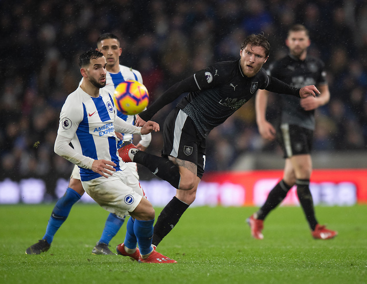 Burnley's Jeff Hendrick (right) battles with Brighton &amp; Hove Albion's Martin Montoya (left) <br /> <br /> <br /> Photographer David Horton/CameraSport<br /> <br /> The Premier League - Brighton and Hove Albion v Burnley - Saturday 9th February 2019 - The Amex Stadium - Brighton<br /> <br /> World Copyright &copy; 2019 CameraSport. All rights reserved. 43 Linden Ave. Countesthorpe. Leicester. England. LE8 5PG - Tel: +44 (0) 116 277 4147 - admin@camerasport.com - www.camerasport.com