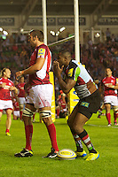 Ugo Monye of Harlequins celebrates scoring his opening try during the Aviva Premiership match between Harlequins and London Welsh at the Twickenham Stoop on Friday 7th September 2012 (Photo by Rob Munro)