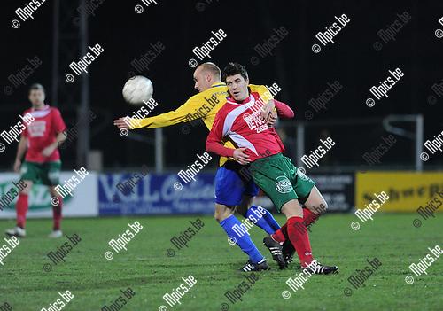 2013-03-09 / Voetbal / seizoen 2012-2013 / Antonia - De Kempen / Jan Jaspers (r. Antonia) met Toon Vervoort..Foto: Mpics.be
