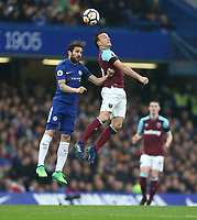 Chelsea's Cesc Fabregas and West Ham United's Mark Noble<br /> <br /> Photographer Rob Newell/CameraSport<br /> <br /> The Premier League - Chelsea v West Ham United - Sunday 8th April 2018 - Stamford Bridge - London<br /> <br /> World Copyright &copy; 2018 CameraSport. All rights reserved. 43 Linden Ave. Countesthorpe. Leicester. England. LE8 5PG - Tel: +44 (0) 116 277 4147 - admin@camerasport.com - www.camerasport.com