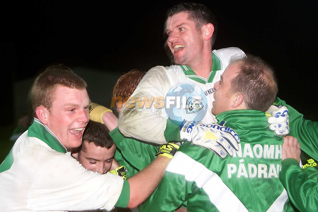 St. Patrick's players celebrating thier victory over Dunshaughlin in Simonstown..Picture Paul Mohan Newsfile