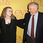 Mia Farrow and playwright A. R. Gurney attend the 'Love Letters' Broadway Opening Night after party at Brasserie 8 1/2 on September 18, 2014 in New York City.