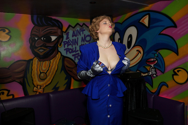 Margaret Thatcher impersonator Honey Wilde strips at Maggies Nightclub in Chelsea