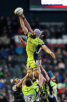Bryn Evans of Sale Sharks in action at a lineout. Aviva Premiership match, between Leicester Tigers and Sale Sharks on February 6, 2016 at Welford Road in Leicester, England. Photo by: Patrick Khachfe / JMP