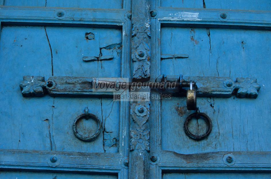 Asie/Inde/Rajasthan/Udaipur: Marché Bara Bazar - Détail de la porte d'une habitation