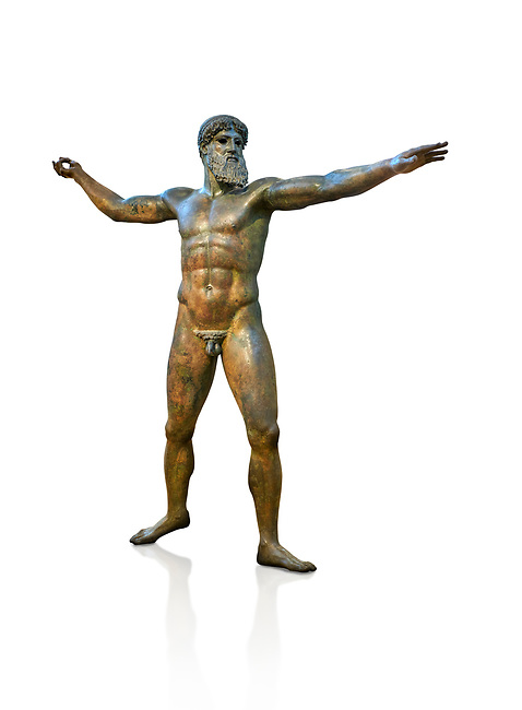 Early classical ancient Greek bronze statue of Zeus or Poseidon, circa 450 BC. Athens National Arcjaeological Museum, cat no X15161. White background<br /> <br /> This bronze statue was found in the sea off Cape Artemision in northern Euobea. Zeus or Poseidon is shown making a great stride. His lefy arm is extended forward and his righy arm extends back which would have held a thunderbolt, if Zeus, or a trident if Poseidon. The identification of the statue is controversial though it ios more likely Zeus. <br /> <br /> It is one of the few preserved original statues of Severe Style, notable for the exuisite rendering of motion and anatomy. Iy is certainly the work of a great sculptor of the early ancient Greek Classical period