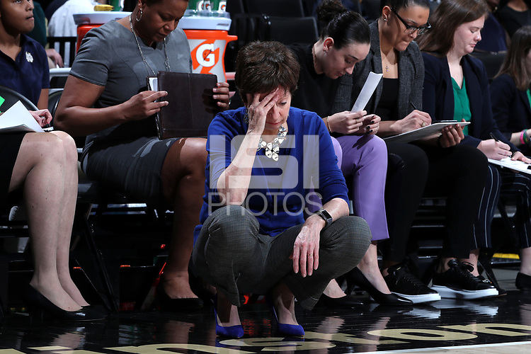 WINSTON-SALEM, NC - FEBRUARY 06: Head coach Muffet McGraw of the University of Notre Dame holds her head in her hand during a game between Notre Dame and Wake Forest at Lawrence Joel Veterans Memorial Coliseum on February 06, 2020 in Winston-Salem, North Carolina.