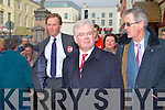 LABOUR: The Labour party leader Eamon Gilmore with north Kerry candidate Arthur Spring and former Tanaiste Dick Spring walk through Tralee on Friday.