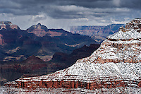 View from south rim of springtime snow storm, Grand Canyon national park, Arizona, USA