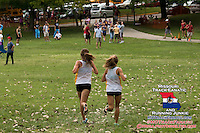 Lafayette's Sarah Nicholson and Anna West run stride for stride on their way to a 1-2 finish at the Lafayette Randy Seagrist Cross Country Invitational at Jefferson Barracks Park in St. Louis, MO. Saturday, August 30, 2014.