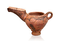 "Vasiliki Ware ""teapot"" with elongated spot and characteristic mottled decorations,  Vasiliki 2300-1900 BC BC, Heraklion Archaeological  Museum, white background."