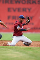 Mahoning Valley Scrappers second baseman Willi Castro (2) picks a throw from home on a stolen base during a game against the Batavia Muckdogs on June 22, 2015 at Dwyer Stadium in Batavia, New York.  Mahoning Valley defeated Batavia 15-11.  (Mike Janes/Four Seam Images)