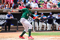Great Lakes Loons third baseman Jared Walker (3) swings at a pitch during a Midwest League game against the Wisconsin Timber Rattlers on May 12, 2018 at Fox Cities Stadium in Appleton, Wisconsin. Wisconsin defeated Great Lakes 3-1. (Brad Krause/Four Seam Images)