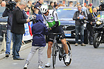 Lars Ytting Bak (DEN) Team Dimension Data makes a young fan happy at sign on before the 2019 Gent-Wevelgem in Flanders Fields running 252km from Deinze to Wevelgem, Belgium. 31st March 2019.<br /> Picture: Eoin Clarke | Cyclefile<br /> <br /> All photos usage must carry mandatory copyright credit (© Cyclefile | Eoin Clarke)