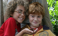 16/08/2010.(L to R)  Joaquin Shinback (8) from Malahide .Cian Moreno Gahan (10) from Drogheda.at the launch of Launch of Wild Child Day in St. Stpehens Green, Dublin..Wild Child Day is part of National Heritage Week, which is coordinated by the Heritage Council, runs from 21st - 29th August 2010 and is a celebration of Irish natural and cultural heritage..The idea behind Wild Child Day is to encourage families and kids to get outdoors and interact and connect with the natural world to see the beauty and benefits it has to offer. .Photo: Gareth Chaney Collins