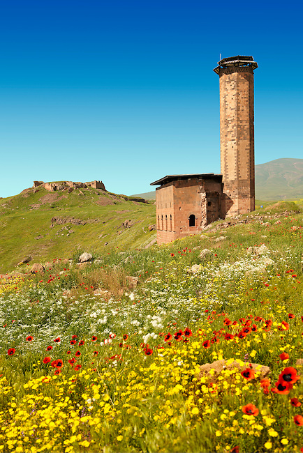 The Seljuk Turk Mosque of Ebul Minuchihr (Minuchir) built in 1072, Ani archaelogical site on the ancient Silk Road  , Kars , Anatolia, Turkey