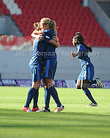 The French players celebrate their 2nd goal of the match during the UEFA Womens U19 Final at Parc y Scarlets Saturday 31st August 2013. All images are the copyright of Jeff Thomas Photography-www.jaypics.photoshelter.com-07837 386244-Any use of images must be authorised by the copyright owner.