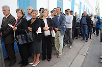 Tunis. 23 October 2011. .90% of registered voters waited in line for hours at the polling station on rue de Marseille to cast a vote in the first free elections in Tunisia's history. ..