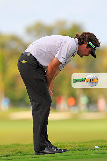 Bubba Watson (USA) checks his lie at the par3 9th green during Friday's Round 2 of the WGC Cadillac Championship at TPC Blue Monster, Doral Golf Resort & Spa, Miami Florida, 7th March 2012 (Photo Eoin Clarke/www.golffile.ie)