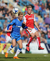 Fleetwood Town's Kyle Dempsey and Gillingham's Josh Wright<br /> <br /> Photographer Rob Newell/CameraSport<br /> <br /> The EFL Sky Bet League One - Gillingham v Fleetwood Town - Saturday 22nd April 2017 - MEMS Priestfield Stadium - Gillingham<br /> <br /> World Copyright &not;&copy; 2017 CameraSport. All rights reserved. 43 Linden Ave. Countesthorpe. Leicester. England. LE8 5PG - Tel: +44 (0) 116 277 4147 - admin@camerasport.com - www.camerasport.com
