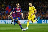 27th November 2019; Camp Nou, Barcelona, Catalonia, Spain; UEFA Champions League Football, Barcelona versus Borussia Dortmund;  DE Jong brings the ball forward - Editorial Use