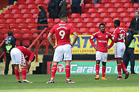 Charlton Athletic players show their frustration at the end of the match after losing 1-0 at home during Charlton Athletic vs Scunthorpe United, Sky Bet EFL League 1 Football at The Valley on 14th April 2018