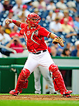 23 September 2010: Washington Nationals catcher Wilson Ramos in action against the Houston Astros at Nationals Park in Washington, DC. The Nationals defeated the Astros 7-2 for their third consecutive win, taking the series three games to one. Mandatory Credit: Ed Wolfstein Photo