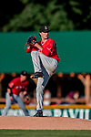 29 July 2018: Batavia Muckdogs pitcher Evan Estes on the mound against the Vermont Lake Monsters at Centennial Field in Burlington, Vermont. The Lake Monsters defeated the Muckdogs 4-1 in NY Penn League action. Mandatory Credit: Ed Wolfstein Photo *** RAW (NEF) Image File Available ***